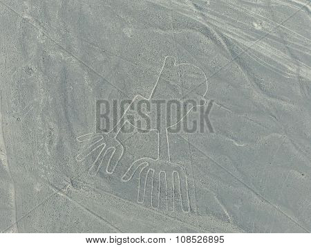 Aerial View Of Nazca Lines - Hands Geoglyph, Peru.