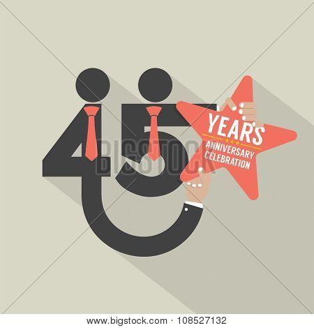 45 Years Anniversary Typography Design.