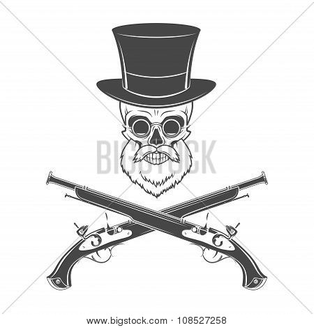 Gentleman of fortune skeleton with beard, glasses, top hat and flint guns. Victorian rover logo temp