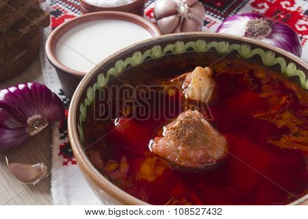 Pieces Of Meat In The Borscht Soup