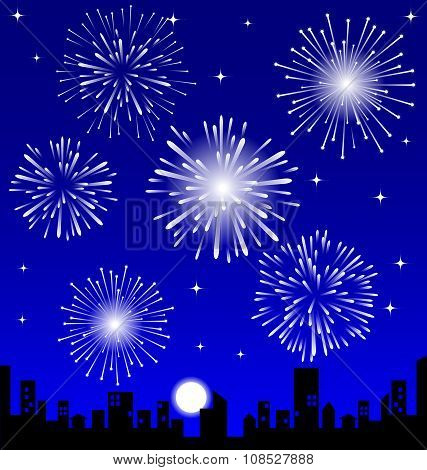 Fireworks  Over The Night City, Vector Illustrated