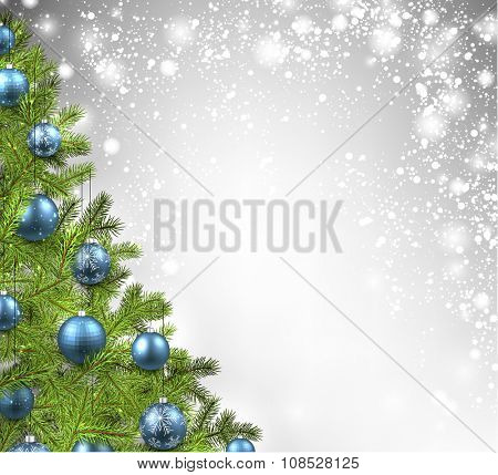 Christmas shining background with christmas tree. Vector illustration.