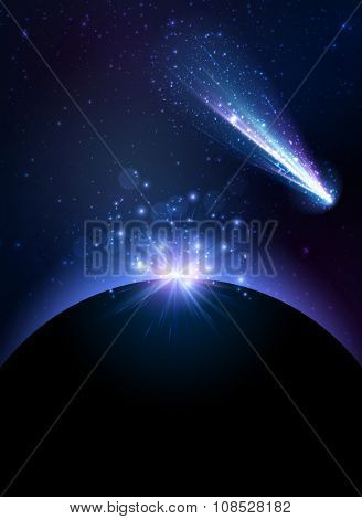 Earth planet background with comet. Vector Illustration.