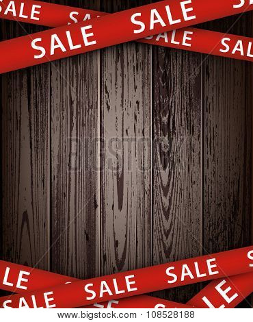Wooden sale background. Vector paper illustration.