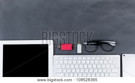 Wiped Down Blackboard With Mobile Devices