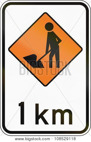 New Zealand Road Sign - Road Workers Ahead In 1 Kilometre