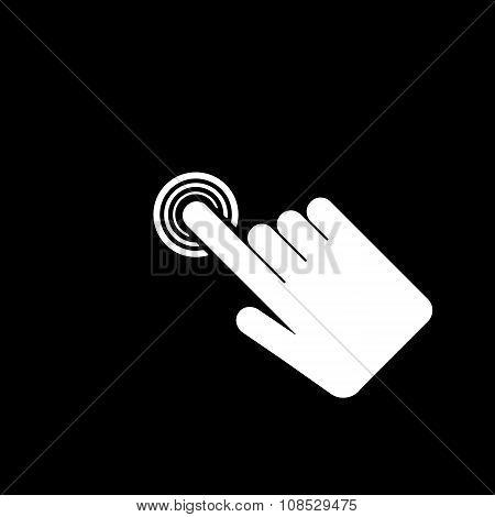 The hand click icon. Cursor symbol. Flat