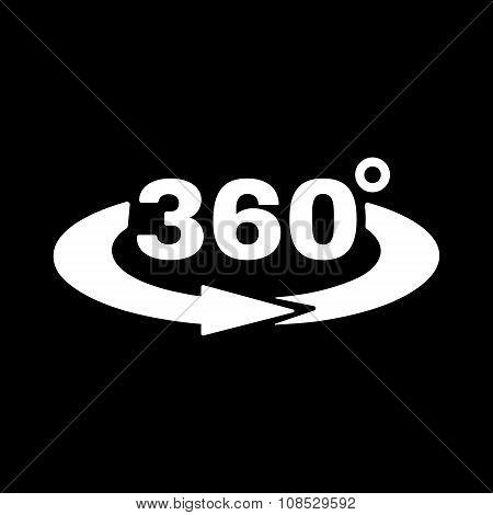 The Angle 360 degrees icon. Rotation symbol. Flat