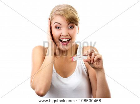 Happy Woman Showing Pregnancy Test With Positive Result