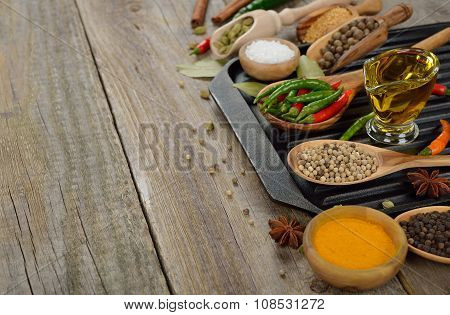 Frying Pan, Spices And Seasonings