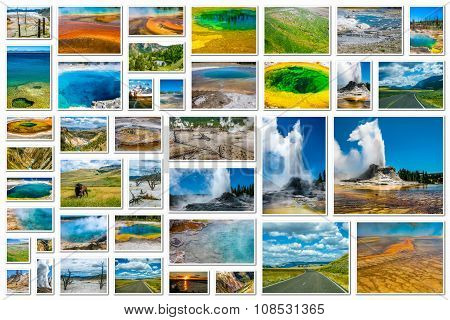 Yellowstone geysers collage