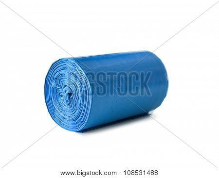 roll of blue garbage bags isolated on white background