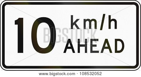 New Zealand Road Sign - Road Works Speed Limit Ahead, 10 Kmh