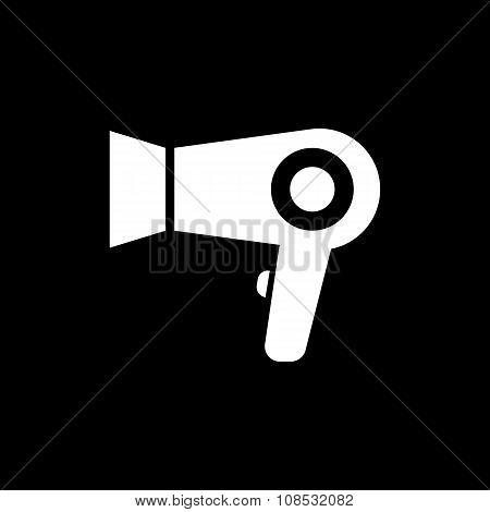 The dryer icon. Hairdryer symbol. Flat