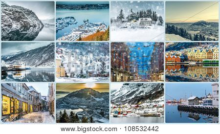 Collage of photos from Bergen, Norway