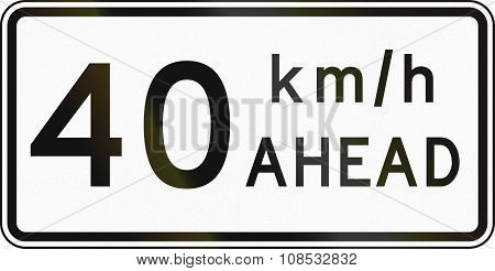 New Zealand Road Sign - Road Works Speed Limit Ahead, 40 Kmh