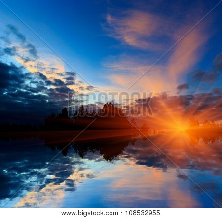 abstract sunset over water reflection