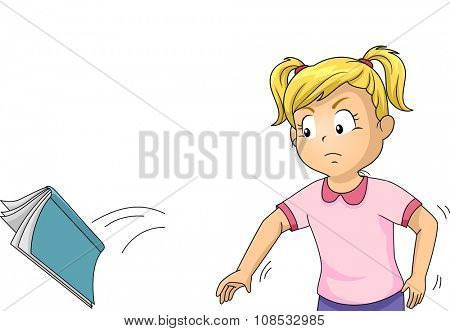 Illustration of an Angry Girl Throwing Her Book