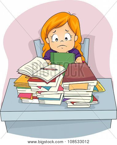 Illustration of a Stressed Little Girl Staring at the Pile of Homework Before Her