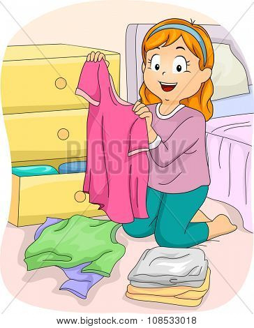 Illustration of a Little Girl Folding Freshly Washed Clothes