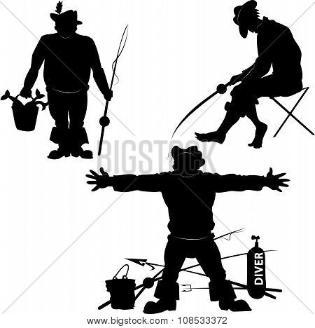 Silhouettes Of Fishermen
