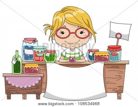 Illustration of a Little Girl Manning the Counter of a Homemade Goods Stall