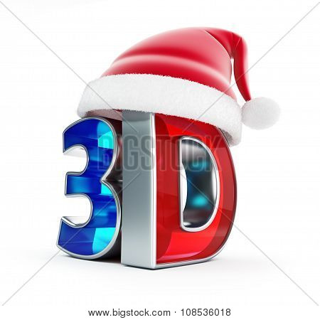 3D Movie Santa Hat Isolated On A White Background