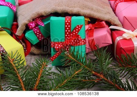 Wrapped Gifts In Jute Bag For Christmas Or Other Celebration