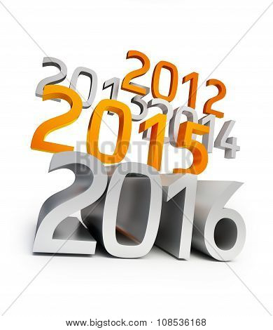 New Year 2016. 3D Illustrations On A White Background