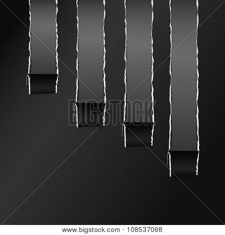 Torn Black Wrapped Curved Paper Gray Copy Space