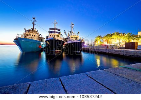 Fishing Boats In Harbor Evening View