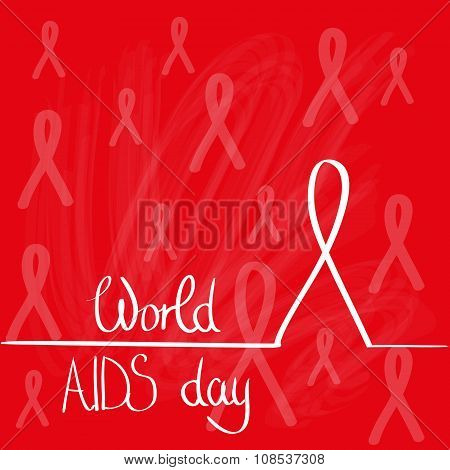 World AIDS Day Awareness Red Ribbon Concept Background