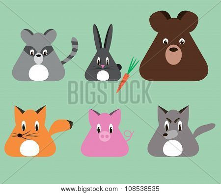 Cartoon Triangular Shape Animals