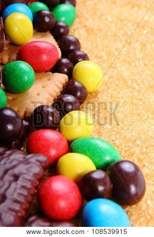A Lot Of Sweets And Cane Brown Sugar, Unhealthy Food