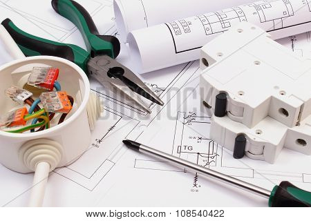 Work Tools, Electrical Box And Fuse, Electrical Construction Drawing