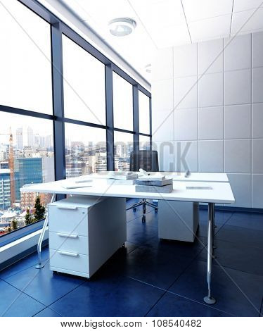 Modern Work Station in Urban Office Building - White Desk and Drawers in Sparsely Decorated Office in High Rise Business Building with View of City. 3d Rendering.