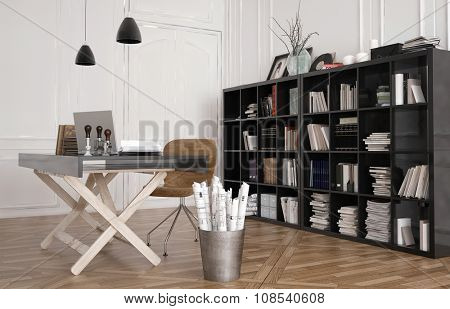 Work table or design workbench in an office interior with a large bookshelf on the wall filled with binders, magazines and books. 3d Rendering.