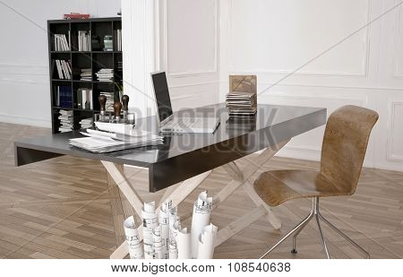 Work table with laptop in a spacious office with paperwork and rolled scrolls of designs or plans in a bin alongside. 3d Rendering.