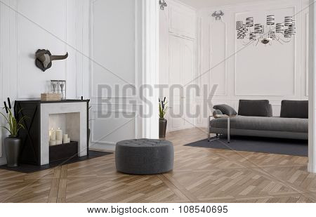 Comfortable spacious living room interior with a pouffe in front of a fireplace with burning candles and a grey upholstered couch on a wooden parquet floor in a white wood panelled room. 3d Rendering.