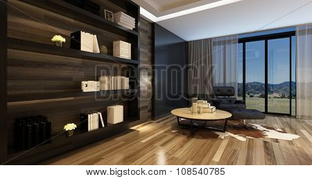 Comfortable living room interior in a stylish modern house with a large wall cabinet and black recliner chair in front of panoramic windows. 3d Rendering.