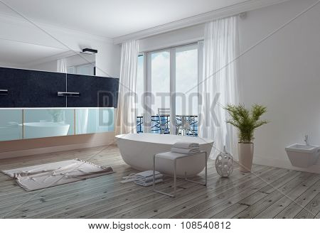 Modern stylish white bathroom with a free standing bathtub, long wall mirror and vanity and floor to ceiling windows leading to a patio. 3d Rendering.