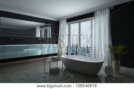 Stylish black and white bathroom interior with a freestanding bathtub in front of large windows leading to a balcony with long wall mounted vanity unit and mirror. 3d Rendering.