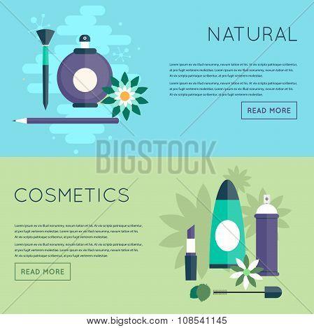 Natural cosmetic health. Flat design.