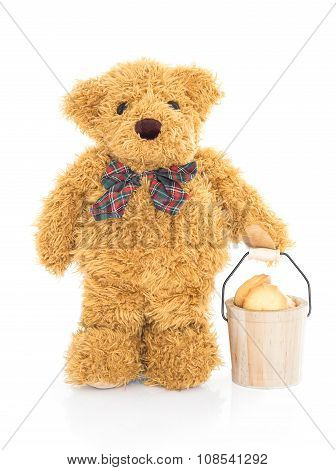 Teddy Bear Holding Cookie Bucket