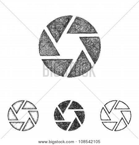 Shutter icon set - sketch line art