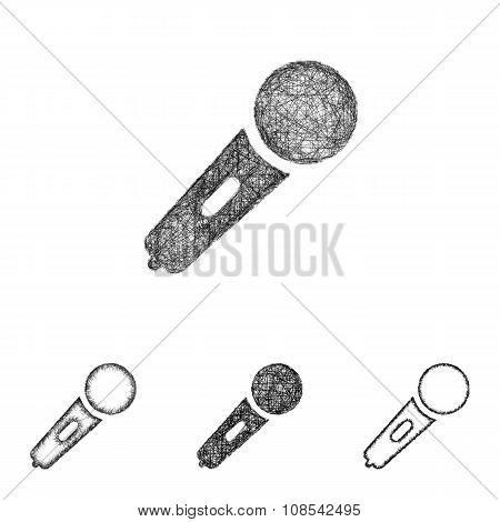 Microphone icon set - sketch line art