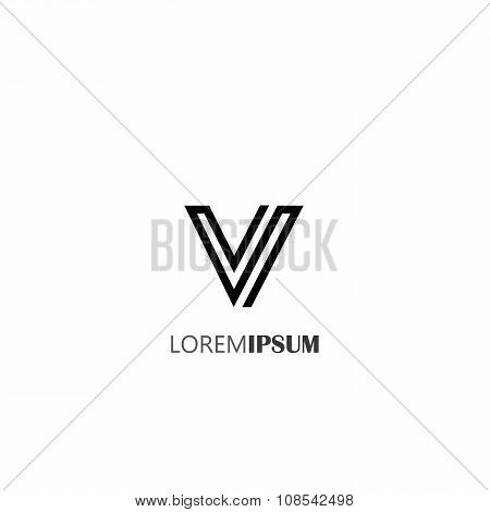 Vector Logo Design Icon Of Creative Line Alphabet Symbol Of Letter V