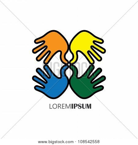 Creative Hand Icons, People's Hand Above Each Other - Unity Concept Vector