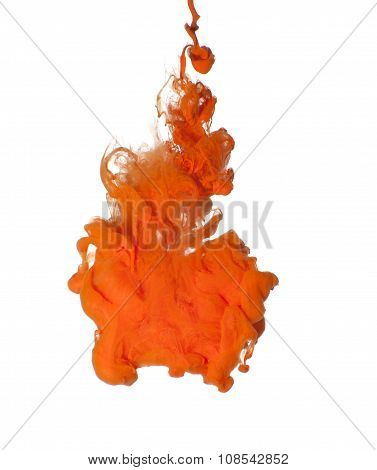 Abstraction Of Orange Acrylic Paint In Water..