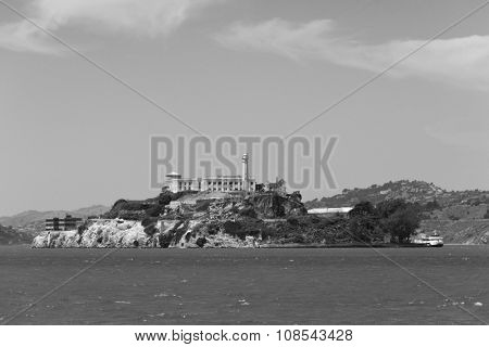 Black & White image of Alcatraz island from the South